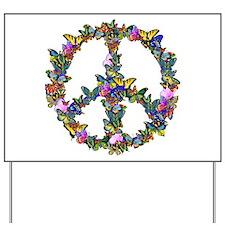 Butterflies Peace Sign Yard Sign