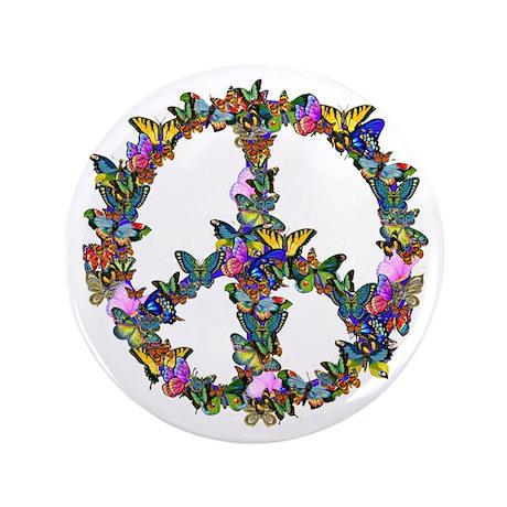 """Butterflies Peace Sign 3.5"""" Button (100 pack)"""