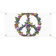 Butterflies Peace Sign Banner