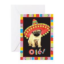 Fiesta Pug Greeting Card