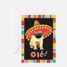 Fiesta Pug Greeting Card