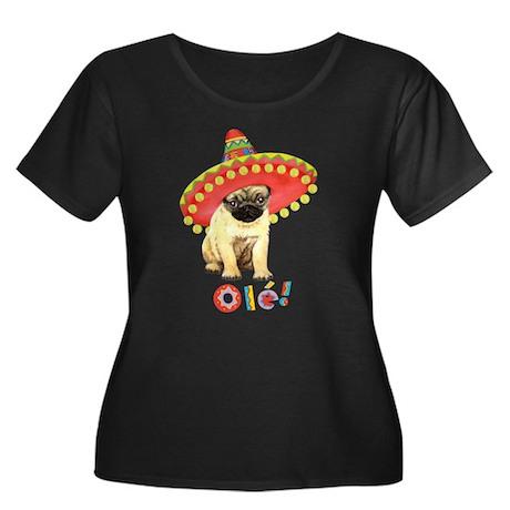 Fiesta Pug Women's Plus Size Scoop Neck Dark T-Shi