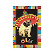 Fiesta Pug Rectangle Magnet