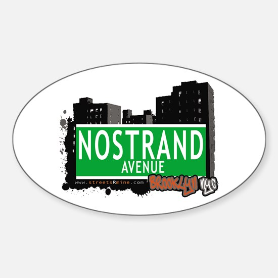 NOSTRAND AVENUE, BROOKLYN, NYC Oval Decal
