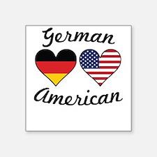 German American Flag Hearts Sticker