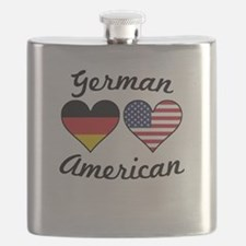 German American Flag Hearts Flask