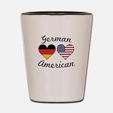 German American Flag Hearts Shot Glass