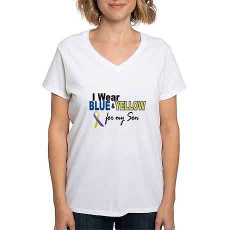 I Wear Blue & Yellow....2 (Son) Women's V-Neck T-S
