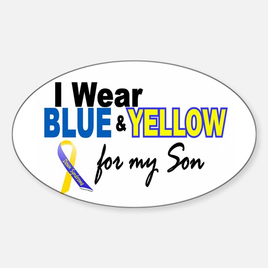 I Wear Blue & Yellow....2 (Son) Oval Decal