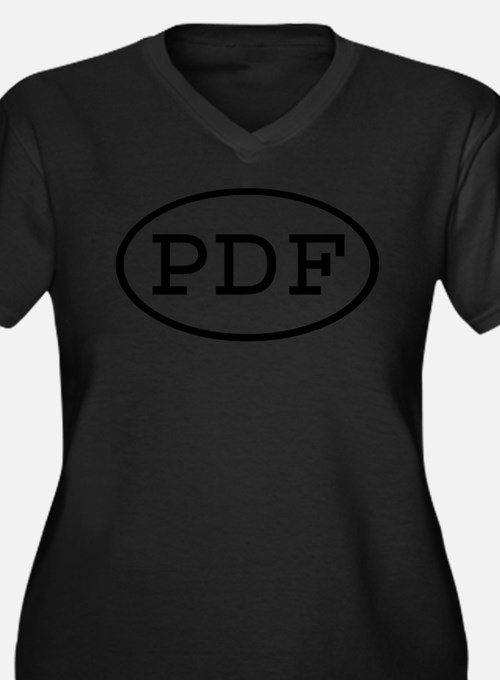 PDF Oval Women's Plus Size V-Neck Dark T-Shirt