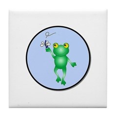Whimiscal Frog with Dragonfly Tile Coaster