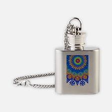 Decorative Pattern 1 Darkblue Flask Necklace