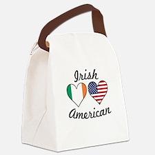 Irish American Flag Hearts Canvas Lunch Bag