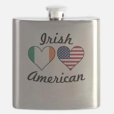Irish American Flag Hearts Flask
