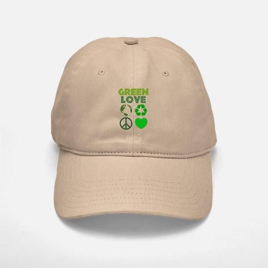 Green Love - Heart 1 Baseball Baseball Cap