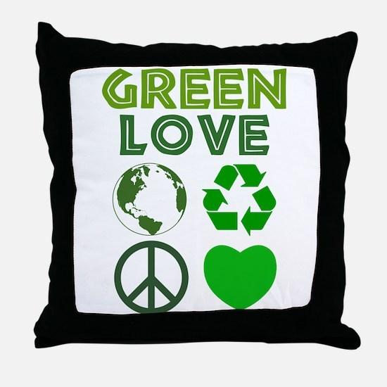 Green Love - Heart 1 Throw Pillow