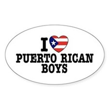 I Love Puerto Rican Boys Oval Decal