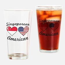 Singaporean American Flag Hearts Drinking Glass