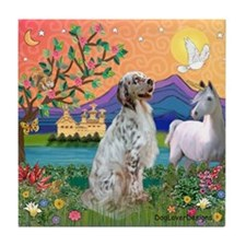 Fantasy Land /English Setter Tile Coaster