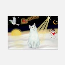 Night Flight - White Cat Rectangle Magnet