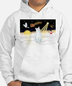 Night Flight - White Cat Hoodie