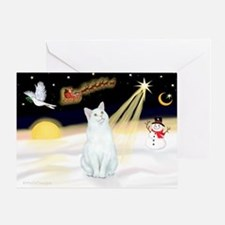 Night Flight - White Cat Greeting Card
