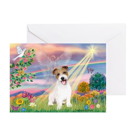 Cloud Angel / JRT puppy Greeting Cards (Pk of 10)