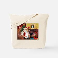 Santa's White Cat Tote Bag