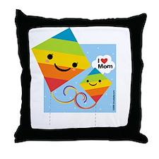 I Heart Mom Kites Throw Pillow