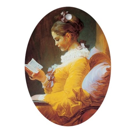 Young Girl Reading c. 1776 Oval Ornament