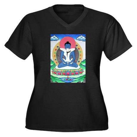 Samantabhadra Buddha Women's Plus Size V-Neck Dark