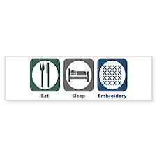 Eat Sleep Embroidery Bumper Car Sticker
