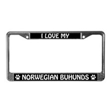 I Love My Norwegian Buhunds License Plate Frame