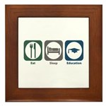 Eat Sleep Education Framed Tile