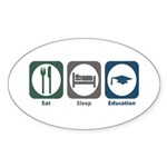 Eat Sleep Education Oval Sticker (10 pk)