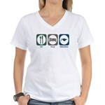 Eat Sleep Education Women's V-Neck T-Shirt