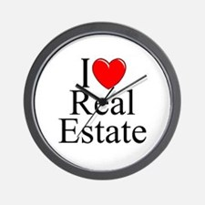 """I Love (Heart) Real Estate"" Wall Clock"