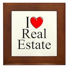 """""""I Love (Heart) Real Estate"""" Framed Tile"""