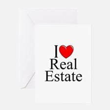 """""""I Love (Heart) Real Estate"""" Greeting Card"""