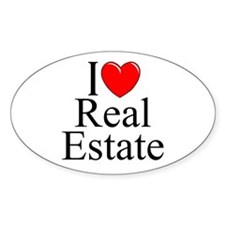 """I Love (Heart) Real Estate"" Oval Decal"