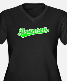 Retro Branson (Green) Women's Plus Size V-Neck Dar