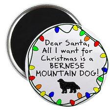 Dear Santa Bernese Mountain Dog Christmas Magnet