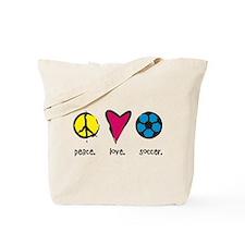 Peace/Love/Soccer Tote Bag