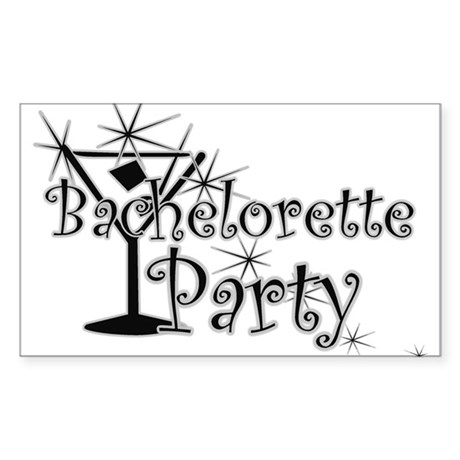 Black C Martini Bachelorette Rectangle Sticker