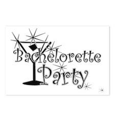 Black C Martini Bachelorette Postcards (Package of