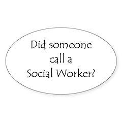 Call a Social Worker Oval Sticker (10 pk)