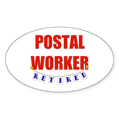 Retired Postal Worker Oval Sticker (50 pk)
