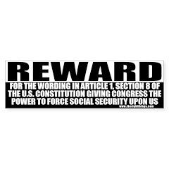 Conservative Reward (2) Bumper Bumper Sticker