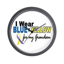 I Wear Blue & Yellow....2 (Grandson) Wall Clock