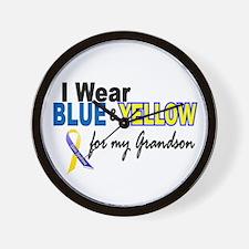 I Wear Blue & Yellow....2 (Grandson) Wall Clock
